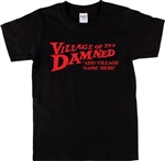 Personalised Custom Village Of The Damned T-Shirt - Add Your Village Name, S-XXL, Customised, Retro Cult Horror, Gift, Tshirt Top