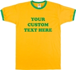 Personalised Custom Printed Ringer T-Shirt - Add Your Text, Retro Font, S-XXL, 1960's, 1970's, 60's, 70's, Yellow, Daisy, Green, Vintage Style, Tshirt Top