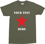 Custom Red Star T-Shirt - Personalised, Add Your Text, Punk, Various Colours, Rock, 1970s, Retro, Protest, Communist, Socialist, Rebel, Tshirt, Top, Customised