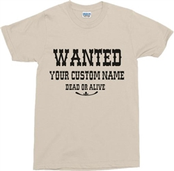 Personalised Custom Printed 'Wanted Poster' T-Shirt - Cowboy, Retro, Various Colours, Customised, 1960s, 1970s, Western, Sheriff, Tshirt, Top