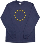 Eu Long Sleeved Unisex Navy T-Shirt Top - European Union, Flag, Brexit, S-XXL, Protest, Tshirt Top, Stars