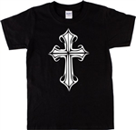 Gothic Cross Unisex Fit T-Shirt - Retro 70's Crucifix, Wicca, S-XXL
