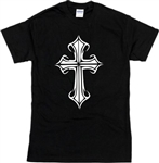 Gothic Cross Ladies Fit T-Shirt - Retro 70's Crucifix, Wicca, S-XXL
