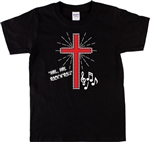 'Hail Hail, Rock & Roll' Western Cowboy Influenced Cross T-Shirt, Rockabilly, Rock n Roll, 1950's, 1960's, 1970's, Retro, Band, Vintage Style, Music Notes, Tshirt Top