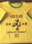 Hans Island 1973 Ringer T-Shirt - Bruce Lee Inspired, Enter The Dragon, Various Sizes/Colours, Kung Fu
