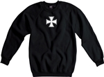Iron Cross Sweatshirt - Also Available In Grey, Small Cross Print, Goth, Rocker, Punk, Retro, Military, German, Heavy Metal, Jumper, Sweat, Sweater
