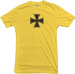 Iron Cross Yellow T-Shirt - Gothic, Retro, 60's, 70's, Symbol, S-XXL, German, Military, Army, Rocker, Goth, Heavy Metal, Rock n Roll, Punk, Vintage Style Tshirt Top, Punk