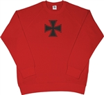 Iron Cross Retro Raglan Red Sweatshirt - 70's, Punk, Sweater Top, Gothic, S-XXL, 1970's, London, Vintage Style, Military, Army, Heavy Metal