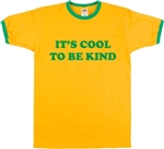 Retro Inspired 'It's Cool To Be Kind' Ringer T-Shirt - Various Colours, S-XXL, Positive Quote, Protest, Tshirt Top