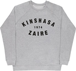 Kinshasa Zaire 1974 Grey Raglan Sweatshirt - Retro, Boxing, 1970's, Rumble In The Jungle, Muhammed Ali, James Brown, Festival, Vintage Style Sweater Top, Jumper, Africa