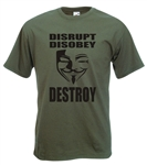"Guy Fawkes ""Disrupt, Disobey, Destroy"" T-Shirt - Protest, Anarchy - All Colours"