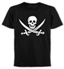 """Jolly Roger"" T-Shirt, Pirate, Fancy Dress, Punk, Rock, Various Colours"