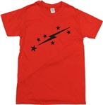 Lightning Bolt & Stars Red T-Shirt - Retro, 1970's, 1960's Glam Rock, Sweet, S-XXL, Rocker, Vintage Style, Tshirt Top, 70s