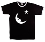 Moon And Star Symbol Ringer T-shirt - Retro 1970's, Also In Red, S-XXL, Vintage Style, 70's, Glam, Counter Culture, 1960's, Tshirt Top,