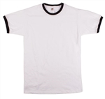 Ringer T-Shirt - Retro Plain Ringer T Shirts, Essentials, Various Colours, S-XXL, 60s, 70s Top, Contrast