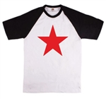 Red Star Short Sleeve Baseball T-Shirt - Retro, 1960's, 1970's, Glam, All Sizes