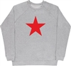 Red Star Grey Sweatshirt - Retro, 60's, 70's, Glam, Punk, Protest, S-XXL Top, Sweater, Jumper