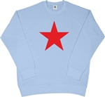 Red Star Sky Blue Sweatshirt - Retro, 60's, 70's, Glam, Punk, Sub Culture, S-XXL, Top, Sweater, Jumper