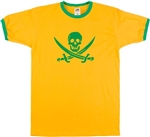 Jolly Roger Yellow Ringer T-shirt - Skull And Cross Bones, Retro, Punk, S-XXL, Rocker, Vintage Style, Tshirt Top, Pirate,