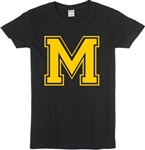Custom Varsity Letter Ladies Fit T-Shirt - Personalise With Your Letter, Various Colours, 1960's, 1950's, 1970's, Top, Customised, Mod, College, University, Sport, Football, American, Retro