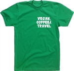 Vegan, Coffee & Travel T Shirt - Various Colour T-Shirts, S-XXL, Vegetarian, Nature, Holiday, Hipster Top