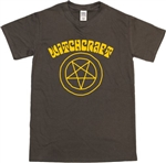 1970's Style Witchcraft Pentagram Symbol Brown T-Shirt - Wicca, Witch, Pagan, Horror, Retro, Witch, Tshirt Top, Gothic, 70s