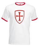 St.George Cross And Shield Ringer T-shirt - St.George's Day, England, All Sizes