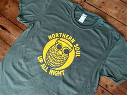 Northern Soul Up All Night Owl T-shirt - Various Colours, 1960s, 1970s, retro, Soul, Top, Tshirt