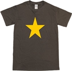 Star T-Shirt - Yellow On Brown Top, Retro, 60's, 70's, Glam Rock Various Colours