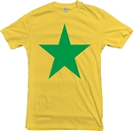 Star T-Shirt - Yellow With Green Print, Glam Rock, Bowie, The Sweet, Marc Bolan,  Retro 70's Style. Top, Tee, Vintage Style, Mod, Punk, Reggae, Ska,
