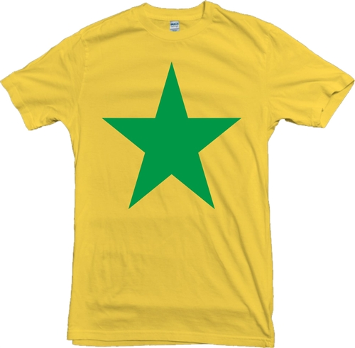 a6635cfd573ef Star T-Shirt - Yellow With Green Print, As Worn In 1970's.
