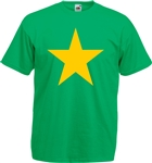 Star T-Shirt - Kelly Green With Yellow Print, retro, pop art, glam rock, 1970's