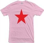 Star T-Shirt - pink With red Print, Glam Rock, Bowie, The Sweet, Marc Bolan,  Retro 70's Style. Top, Tee, Vintage Style, Mod, Punk, Reggae, Ska,