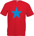 Star T-Shirt - Red With Blue Print, Glam Rock, 1970's