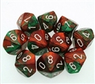 Chessex Dice - Gemini Green-Red w white set of 10 x D10s