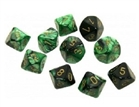 Chessex Dice - Gemini Black-Green/Gold set of 10 x D10s