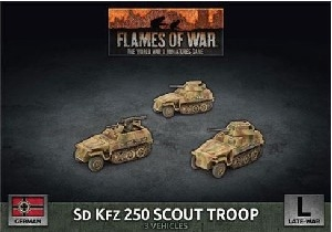 Flames of War - GBX176 Sd Kfz 250 Scout Troop plastic