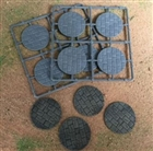 Renedra Bases - Stone Paving Round Bases 50mm Diameter - 8 bases per bag GREY