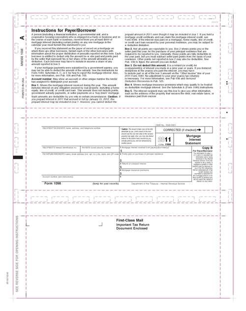 1098 Mortgage Interest Copy B 11 Z Fold Pressure Seal Tax Forms