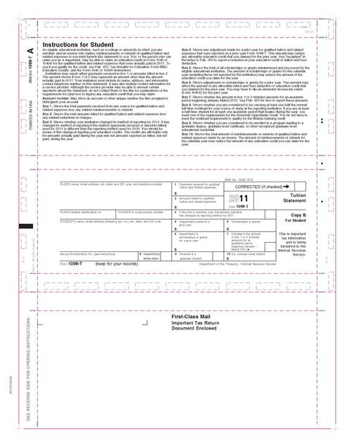 1098 t tuition statement copy b 11 z fold pressure seal tax forms