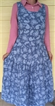 Ladies Dress or tunic preowned lightweight blue denim floral cotton size M/L Petite