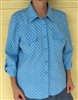 Ladies Blouse Tunic Long preowned Blue jean cotton pleated size L