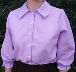 Ladies Blouse Classic Button with Collar Lavender Linen Rayon size 8