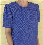 Ladies Peasant Blouse Blue & White Polyester Rayon Check size M 10 12