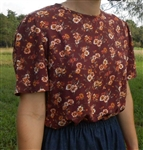 Ladies Blouse Slip-on Brown Floral rayon size 16