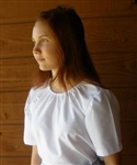 Ladies Peasant Blouse White Oxford cotton/poly L 14 16