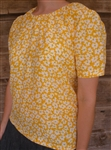 Ladies Peasant Blouse Yellow Gold Floral Rayon XL 18 20