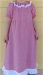 Girl Dress Peasant Peach Butterflies Seersucker size 6 X-long