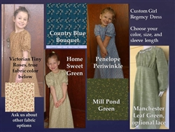 Girl Dress Regency Short or Long Sleeves all sizes