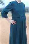 Ladies Maternity Dress with attached Vest Green Check cotton size L 14 16